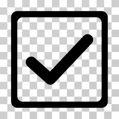 Checkbox icon. Vector illustration style is flat iconic symbol, black color, transparent background. Designed for web and software interfaces. Ilustração
