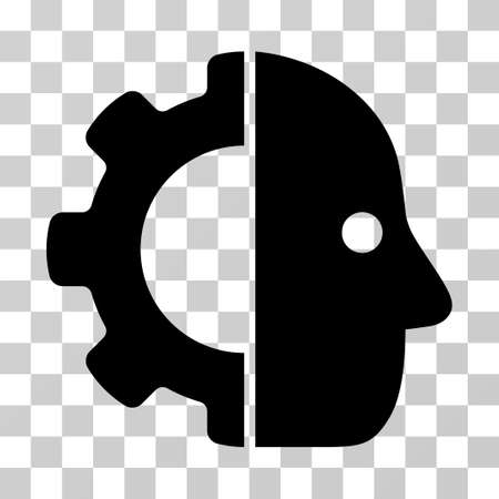 robo: Cyborg icon. Vector illustration style is flat iconic symbol, black color, transparent background. Designed for web and software interfaces.