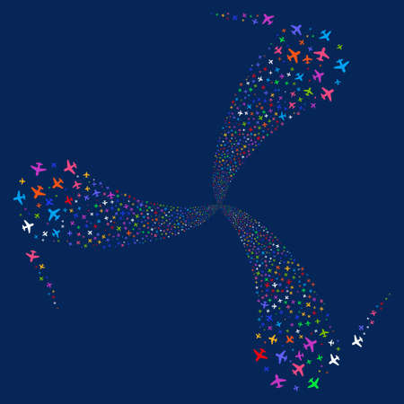 Airplane fireworks swirl rotation. Vector illustration style is flat bright multicolored iconic symbols on a blue background. Object twirl done from random design elements.