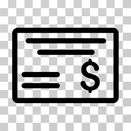 Dollar Cheque icon. Vector illustration style is flat iconic symbol, black color, transparent background. Designed for web and software interfaces.