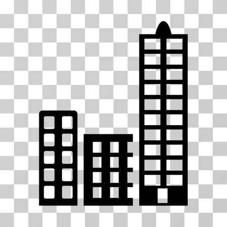 burg: City icon. Vector illustration style is flat iconic symbol, black color, transparent background. Designed for web and software interfaces.