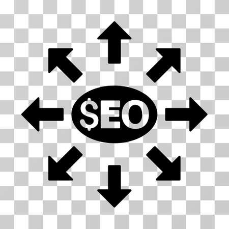 color distribution: Seo Distribution icon. Vector illustration style is flat iconic symbol, black color, transparent background. Designed for web and software interfaces.
