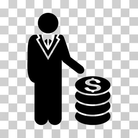 moneymaker: Businessman icon. Vector illustration style is flat iconic symbol, black color, transparent background. Designed for web and software interfaces. Illustration
