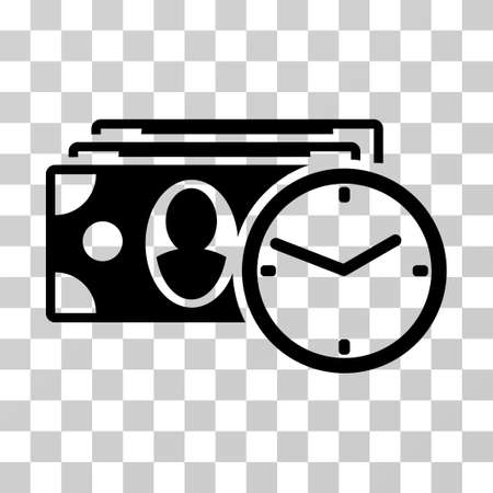 timed: Cash Credit icon. Vector illustration style is flat iconic symbol, black color, transparent background. Designed for web and software interfaces.