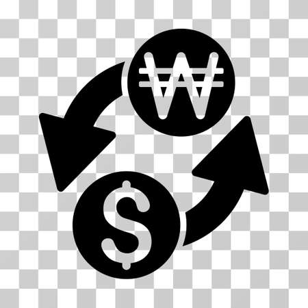 Dollar Korean Won Exchange icon. Vector illustration style is flat iconic symbol, black color, transparent background. Designed for web and software interfaces.