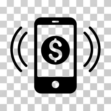 sms payment: Payment Phone Ring icon. Vector illustration style is flat iconic symbol, black color, transparent background. Designed for web and software interfaces.
