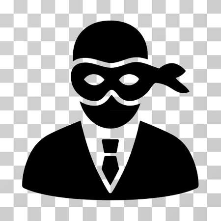Masked Thief icon. Vector illustration style is flat iconic symbol, black color, transparent background. Designed for web and software interfaces.