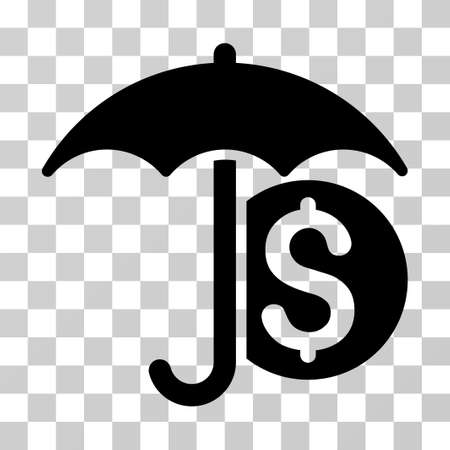 sure: Money Umbrella Protection icon. Vector illustration style is flat iconic symbol, black color, transparent background. Designed for web and software interfaces. Illustration