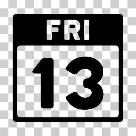 13: 13 Friday Calendar Page icon. Vector illustration style is flat iconic symbol, black color, transparent background. Designed for web and software interfaces.