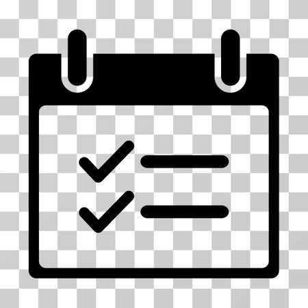 Check Items Calendar Day icon. Vector illustration style is flat iconic symbol, black color, transparent background. Designed for web and software interfaces.