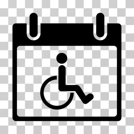 Disabled Person Calendar Day icon. Vector illustration style is flat iconic symbol, black color, transparent background. Designed for web and software interfaces.