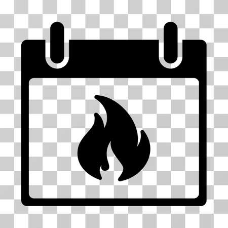 Flame Calendar Day icon. Vector illustration style is flat iconic symbol, black color, transparent background. Designed for web and software interfaces.