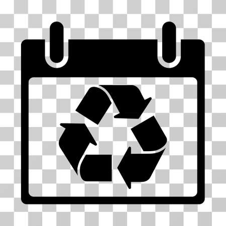 dispose: Recycle Calendar Day icon. Vector illustration style is flat iconic symbol, black color, transparent background. Designed for web and software interfaces. Illustration