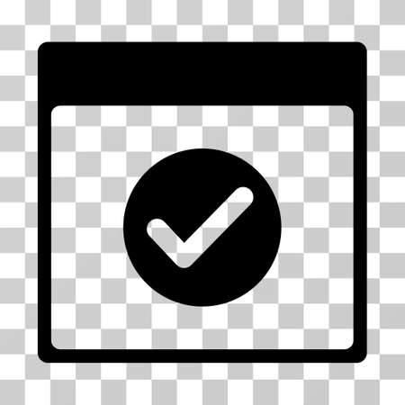 date validate: Ok Calendar Day icon. Vector illustration style is flat iconic symbol, black color, transparent background. Designed for web and software interfaces.