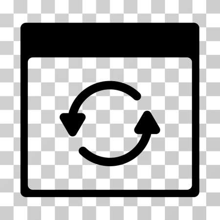 Actualizar el icono de la página del calendario. El estilo de la ilustración del vector es símbolo icónico plano, color negro, fondo transparente. Diseñado para interfaces web y software.