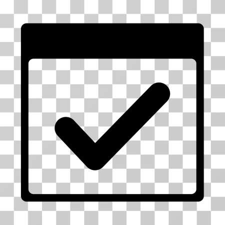 valid: Valid Day Calendar Page icon. Vector illustration style is flat iconic symbol, black color, transparent background. Designed for web and software interfaces. Illustration