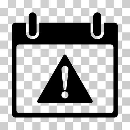failed plan: Warning Calendar Day icon. Vector illustration style is flat iconic symbol, black color, transparent background. Designed for web and software interfaces.