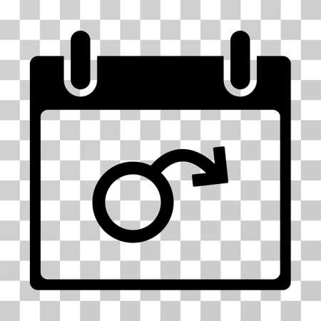 testicles: Impotence Calendar Day icon. Vector illustration style is flat iconic symbol, black color, transparent background. Designed for web and software interfaces.