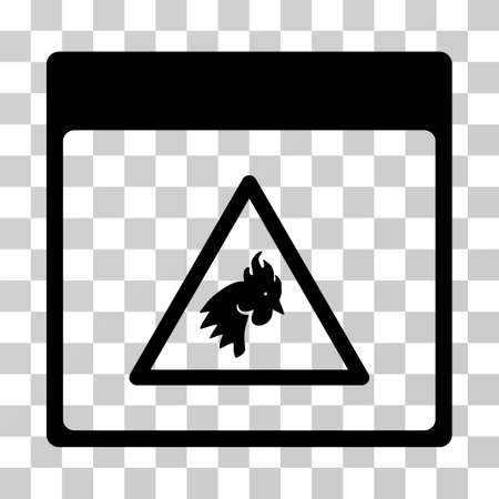 failed plan: Rooster Danger Calendar Page icon. Vector illustration style is flat iconic symbol, black color, transparent background. Designed for web and software interfaces.