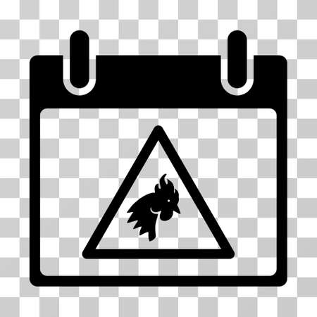 failed plan: Rooster Warning Calendar Day icon. Vector illustration style is flat iconic symbol, black color, transparent background. Designed for web and software interfaces.