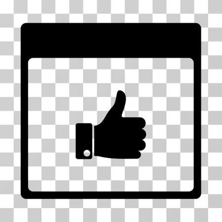 Thumb Up Hand Calendar Page icon. Vector illustration style is flat iconic symbol, black color, transparent background. Designed for web and software interfaces.