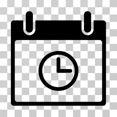 Time Calendar Day icon. Vector illustration style is flat iconic symbol, black color, transparent background. Designed for web and software interfaces.