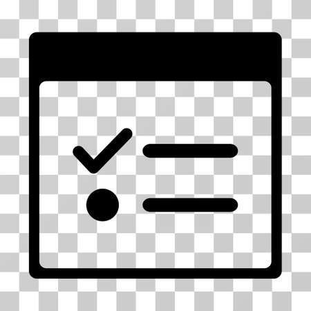 Todo Items Calendar Page icon. Vector illustration style is flat iconic symbol, black color, transparent background. Designed for web and software interfaces.