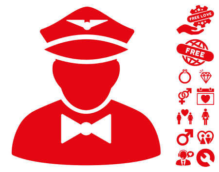 Airline Steward icon with bonus lovely design elements. Vector illustration style is flat iconic red symbols on white background.