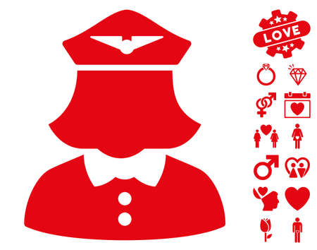Airline Stewardess pictograph with bonus lovely icon set. Vector illustration style is flat iconic red symbols on white background.