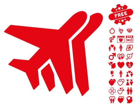 Airlines icon with bonus dating graphic icons. Vector illustration style is flat iconic red symbols on white background.