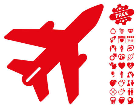 Airplane icon with bonus valentine pictures. Vector illustration style is flat iconic red symbols on white background.