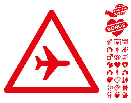 speed dating: Airplane Danger icon with bonus lovely pictures. Vector illustration style is flat iconic red symbols on white background.