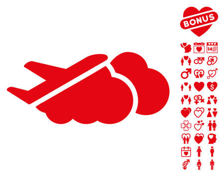 Airplane Over Clouds pictograph with bonus love icon set. Vector illustration style is flat iconic red symbols on white background.