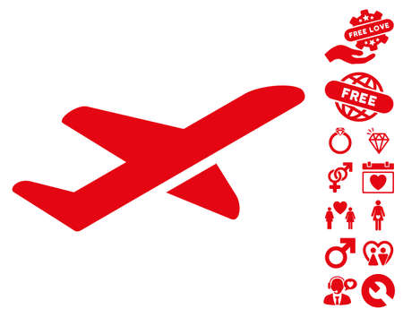 Airplane Takeoff pictograph with bonus valentine pictograms. Vector illustration style is flat iconic red symbols on white background. Illustration