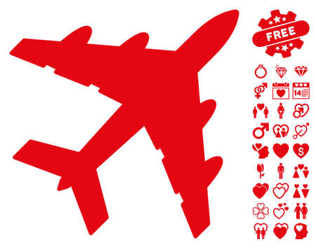 Bomber icon with bonus lovely pictograms. Vector illustration style is flat iconic red symbols on white background.