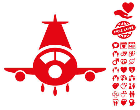 Cargo Plane icon with bonus lovely icon set. Vector illustration style is flat iconic red symbols on white background.