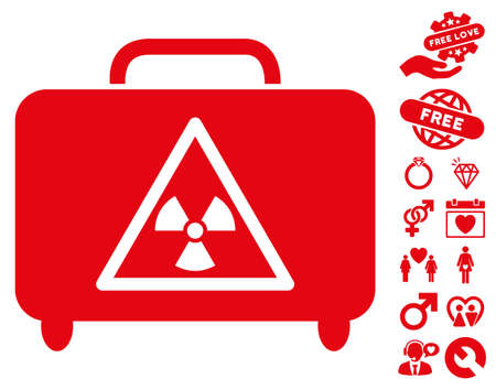 Dangerous Luggage icon with bonus love images. Vector illustration style is flat iconic red symbols on white background. Illustration