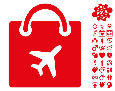 Duty Free Shopping pictograph with bonus valentine clip art. Vector illustration style is flat iconic red symbols on white background.