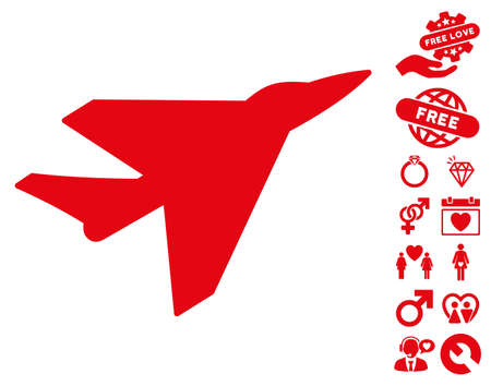 Intercepter icon with bonus valentine clip art. Vector illustration style is flat iconic red symbols on white background.
