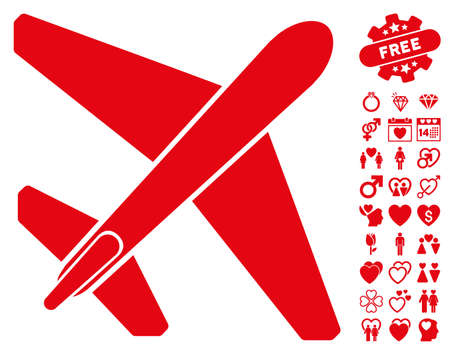 usaf: Jet Airplane pictograph with bonus valentine pictograms. Vector illustration style is flat iconic red symbols on white background.