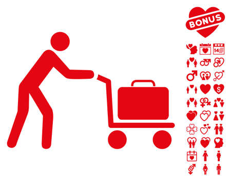 Passenger Trolley icon with bonus dating pictograph collection. Vector illustration style is flat iconic red symbols on white background. Illustration