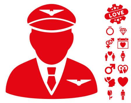 Pilot icon with bonus love design elements. Vector illustration style is flat iconic red symbols on white background. Illustration