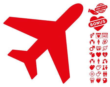 usaf: Plane pictograph with bonus dating graphic icons. Vector illustration style is flat iconic red symbols on white background.