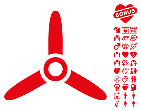 Three Bladed Screw icon with bonus valentine clip art. Vector illustration style is flat iconic red symbols on white background.