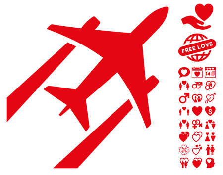 Air Jet Trace pictograph with bonus dating pictograph collection. Vector illustration style is flat iconic red symbols on white background.