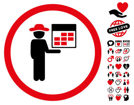 Man Calendar icon with bonus amour images. Vector illustration style is flat rounded iconic intensive red and black symbols on white background.
