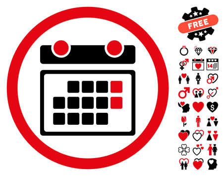 Month Calendar pictograph with bonus dating images. Vector illustration style is flat rounded iconic intensive red and black symbols on white background.