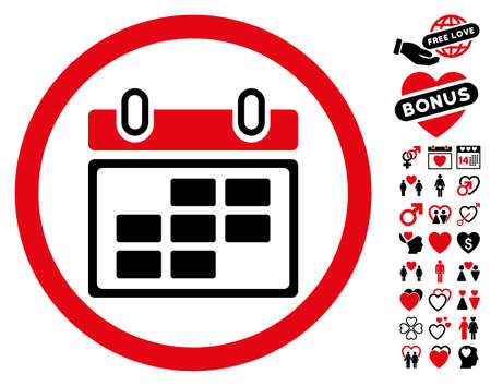 Month Calendar pictograph with bonus passion symbols. Vector illustration style is flat rounded iconic intensive red and black symbols on white background.