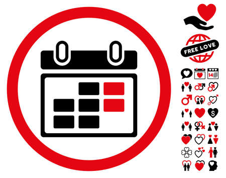 Month Calendar icon with bonus passion icon set. Vector illustration style is flat rounded iconic intensive red and black symbols on white background.
