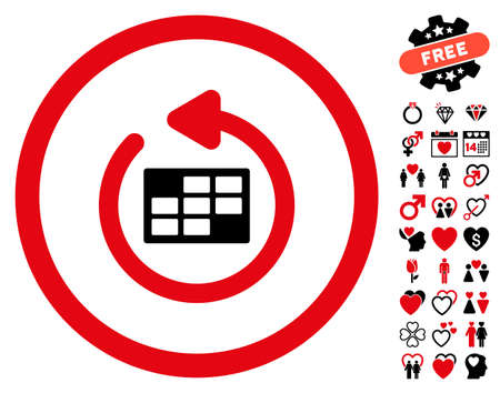 Refresh Calendar pictograph with bonus lovely symbols. Vector illustration style is flat rounded iconic intensive red and black symbols on white background.